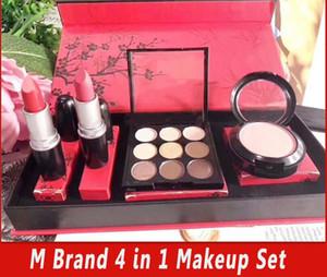 Hot m marca de maquiagem Matte Lipstick + Blush + Eyeshadow 4 em 1 Kit de maquiagem com alta qualidade