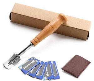 Pane Lame Set Premium Hand Crafted Pane Lame gratuita 5 Lame e copertura protettiva in pelle - Miglior pasta Scoring strumento DHA405
