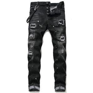 Jeans skinny blu strappati strappati da uomo unici Stilista Pantaloni slim fit da moto lavati slim fit Pantaloni da motociclista hip hop con pannelli 1046