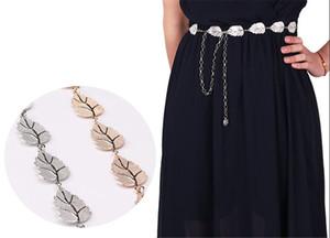 النساء أوراق معدنية نمط حزام سلسلة الأشرطة الخصر حزام موضة الجسم سلسلة حبل الذهب الفضة