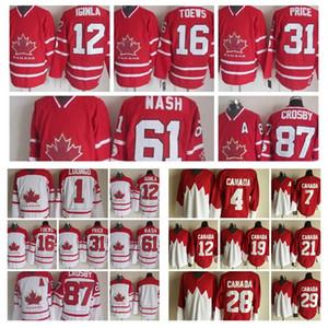 Canada Équipe Jersey Roberto Luongo Jarome Iginla Jonathan Toews Prix 2019 Championnat du Monde IIHF Hommes Vintage CCM Hockey Maillots Cousu