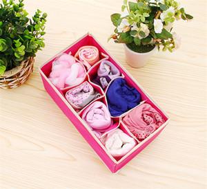 4pcs / Underwear Set dobrável gaveta divisores Bra e Sock Organizador Closet Organizadores Cube Basket Bins Containers Home Storage Box B4252