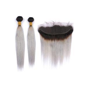 Ombre Couleur Rose droite dentelle Fermeture avec des extensions 10-30 pouces Double wefted Two Tone 1B Couleur Cheveux gris 2Bundles Avec Frontal