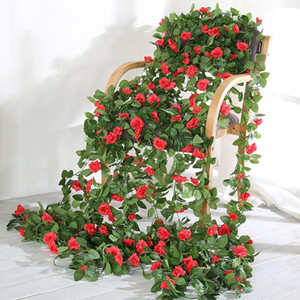 230 centímetros Flor Artificial Vines Wedding Decor Rose Falso Flores Rattan Cordas Hanging Garden Garland Silk flor folha da planta