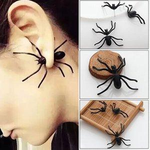 Nueva decoración de Halloween 1 pieza 3D Creepy Black Spider Ear Stud pendientes para Haloween Party DIY decoración decoración del hogar