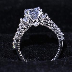 Atacado Professional Jóias Moda Vintage 925 steling Prata Três Pedra Branca Limpar Topaz CZ diamante promessa anel anel de mulheres dos anéis de casamento