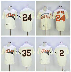 Houston Colts Jersey MN 24 Jimmy Wynn Jersey 35 Joe Morgan 2 Nellie Fox Creme Vintage 1964 Turn Back costurado Retro Baseball Jerseys