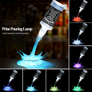 Yenilik lamba dökün led gece lambası şarap şarap dökün 3d şarj edilebilir usb dokunmatik anahtarı fantezi şarap şişesi dekorasyon bar parti lamba