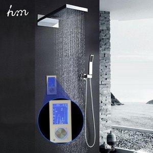 """hm Digital Cabeça de chuveiro Torneiras 22"""" Toque Cachoeira termostática Controller Set Rainfall Massage Bath Shower 20170609"""