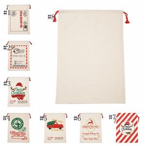 Santa Сакс Monogrammable Хлопок Льняные сумки Санта мешок подарка Drawstring Рождество мешок Санта Олень Последние 8 Designs Bulk в запасе CYL-YW4059