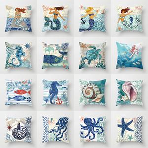 Marine Organism Cushion Covers Mermaid Cushion Cover Decorative Polyester Ocean Pillow Case