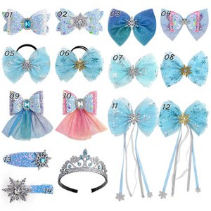 Ins 3.3inch lace hair bows girls hair clips crystal princess girls barrettes girls scrunchies kids hairbands baby hair accessories B1312