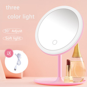 Touch screen Lighted Rounded Makeup Mirror with Lights Rechargeable 3 Color LED Cosmetic Beauty Portable Detachable Tabletop Mirror