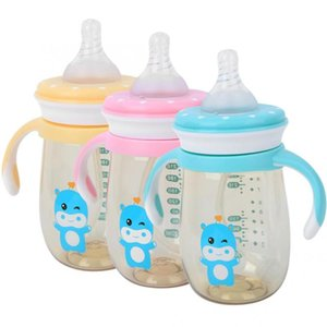 240ml BPA-free Baby Bottle PPSU Wide Caliber Leakage-Proof Baby Milk Bottle Anti-Impact Children Feeding with Handle