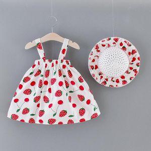 Baby Girl Cherry Summer Dress Hat Outfit Set Sleeveless Suspenders Sweet Princess Dress Sun Cap Set Toddler Infant Girl Clothes