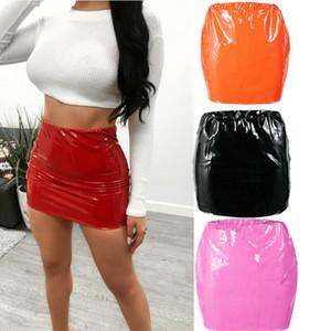 Hot2019 Crayon Femmes Sexy Zipper taille haute couleur pure en cuir PU Jupe stretch moulante courte Minijupes chaud