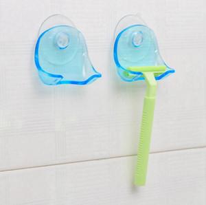 Kunststoff Razor Rack-Saugnapf Badezimmer Rasiererhalter Shaver Storage Rack Badezimmer Organizer für Dusche OOA7661