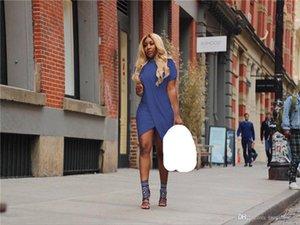 Kadınlar Tasarımcı Batik Elbise Yaz AŞK Casual Çapraz Tasarımcı Kısa kollu Artı boyutu Şeker Renk Elbise