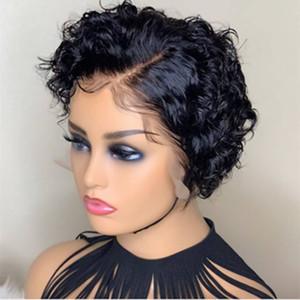 13x6 curto encaracolado Bob Side Parte dianteira do laço Perucas Pré arrancada Pixie Cut Cabelo Humano Perucas para as mulheres brasileiras Remy cabelo Lace Wig
