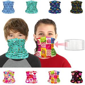 필터를 재사용 어린이 반다나 페이스 마스크 UV 보호 넥 게이터 헤드 밴드 빨 스카프 마스크 먼지 보호 블록 발라 클라 바 모자