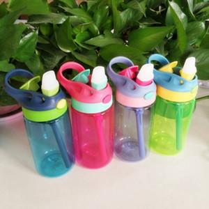 Moda Bounce Garrafa de água 4 cores Hand Held Kid portátil de plástico copo bebendo com palha recém-nascido copos 480ml ZZA953