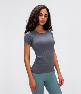 2020 novas senhoras de manga curta esportes em torno do pescoço de secagem rápida T-shirt correndo de fitness LU-01 esportes suaves sólidos topo Magro curto yoga respirável