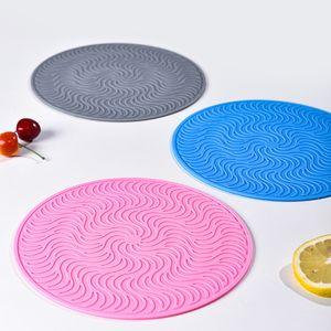 Antidérapante en silicone Manique ronde Diamètre 20cm Silicone Pot Table 8 napperon Tasse de couleur en silicone Coaster