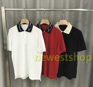 2020 Yeni Erkek Tasarımcı Polos Marka Nakış şerit baskı t shirt mens mektup baskı polo tişört yaka gündelik tişört tişört üstleri