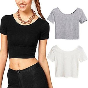 New Fashion Women Scoop Neck Crop Tops Short Sleeve Bare Midriff Casual Blouse T-Shirt Loose Cotton T Shirt Women Top Xshfbcl