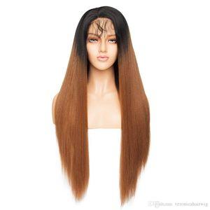 Kadınlar Bebek Saç için Moda 1b / 27 # Ombre Açık Kahverengi Uzun Yaki Düz Dantel Açık Peruk Tutkalsız Tam Sentetik Peruk