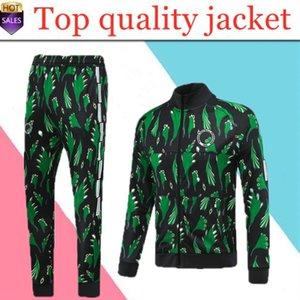 novo Nigéria Homens futebol treino Jacket impressão verde Zip completa manga Surtvetement 2020 2021 Adulto Jogging futebol fato de treino jaqueta