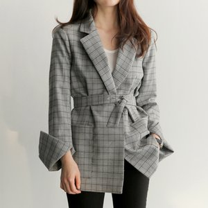 Primavera Mulheres Autumn Grey Plaid Office Lady Blazer moda arco Sashes Dividir luva Casacos elegante Blazers Feminino Trabalho