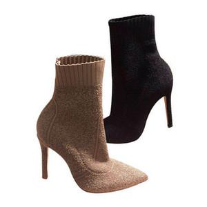 Womens punta Toes caviglia HLAF stivali tacco alto 6-8cm di lana calzino-come bottini signore alte Moda Knit Stivali tallone formato 34-40 Nero Marrone