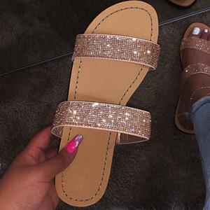 2020 Nuovo strass Sandali estate delle donne pantofole aperte davanti Big Size sandalo Beach diapositive estate delle donne Scarpe Oro Argento