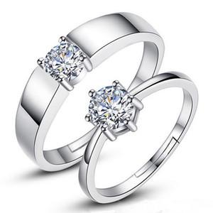 ANENJERY Mode Argent 925 Couple mariage Bagues de fiançailles avec Zircon et ses bijoux Son Anneaux Promise S-R14