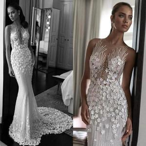 Floral 3D elegante do laço appliqued Vestido de Noiva Sereia Luxo Sheer Feito à Mão Flores Back Beach Boho Vestido de Noiva vestes BC2112 de mariée