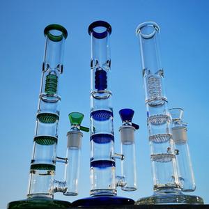 12 pouces tube droit Bongs Triple Honeycomb Perc Dab Rigs Birdcage percolateurs huile Rig Vert Bleu Les conduites d'eau avec le verre Bowl HR316