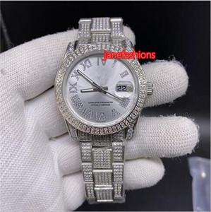 الساعات الرومانية الماس فضة مقياس رقمي الماس فضة للرجال عصري ووتش الفضة الفولاذ المقاوم للصدأ الماس ووتش الأعمال