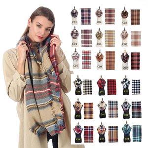 Infinity Döngü Eşarplar Kadın Nedensel Halka Eşarplar Moda Açık Seyahat Kızlar Yenilikçi Izgara Püskül Wrap Şal LJJ_TA1441 Isınma Plaid