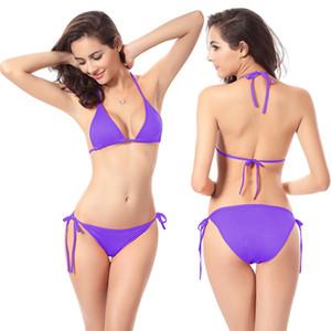 VENTA CALIENTE 10 Elección del color puro Bikini Set Sexy traje de baño Mujer Ropa de playa Bikini Traje de baño Traje de baño Traje de baño Cintura baja