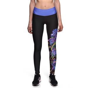 Çiçek Baskı Koşu Tayt Pantolon Kadın Spor Salonu Elastik Siyah Tayt Kadınlar Yaga Pantolon Plue Boyutu 3 Desenler S-3XL