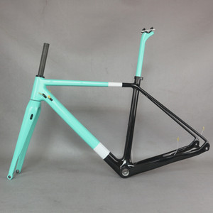 peinture personnalisée trame en fibre de carbone Toray T700 fourche 100 * 15mm BSA cadre de gravier de frein à disque support de mout fond plat de vélo GR029