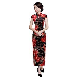 Pop 2019 Shanghai Story Amazing Arrivée Femmes Fleur Imprimer Qipao Long Chinois Cheongsam Dress National Trend Dress