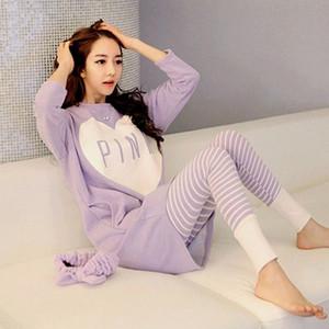 2018 Women Pajama Sets Summer Spring Sleepwear Womens Long Sleeve Cute Pajamas Girls Kawaii Night Homewear Nightgown Plus Size 3