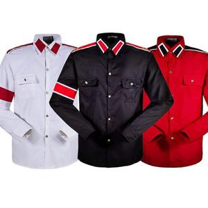 MJ Cosplay MICHAEL JACKSON Costume CTE Estilo Camisa Para Fãs MJ Branco Preto Cores VERMELHAS