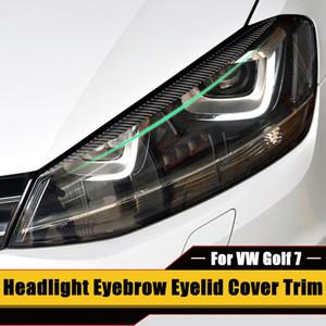 2 × 헤드 라이트 눈썹 눈꺼풀 커버 트림 VW 골프 7 VII GTI GTD R MK7 2013년부터 2017년까지 탄소 섬유 눈길을 끄는보기 쉬운 설치를 위해