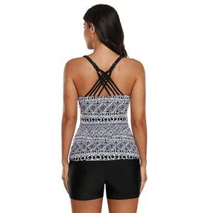 INS Amazon Bikini Womens Geometric Imprimir conservador Tampa barriga Hot Spring Vest Four Corners Duas Peças Swimsuit Venda