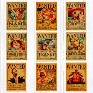 ОДНА ЧАСТЬ Разыскивается Обезьяна D Луффи Холст Картины Старинные Стены Крафт Плакаты Наклейки С Покрытием Home Decor Изображение для Гостиной