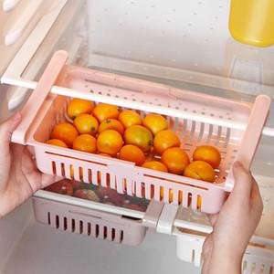 Criativa Deslize rack de armazenamento Organizer ajustável Titular Frigorífico Prateleira Gaveta Fruit Cozinha Frigorífico Congelador cremalheira