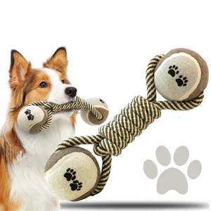 10pcs Pet Dog Cat Teeth Chew Cotton Braided Bone Rope Knot Puppy Play Toy Random Bite Knot Funny Powerful Puppy Tug Of War